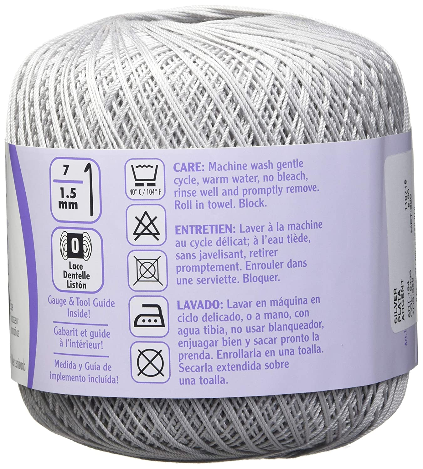Amazon.com: Coats Crochet 154-435 Aunt Lydias Crochet, Cotton Classic Size 10, Silver: Arts, Crafts & Sewing