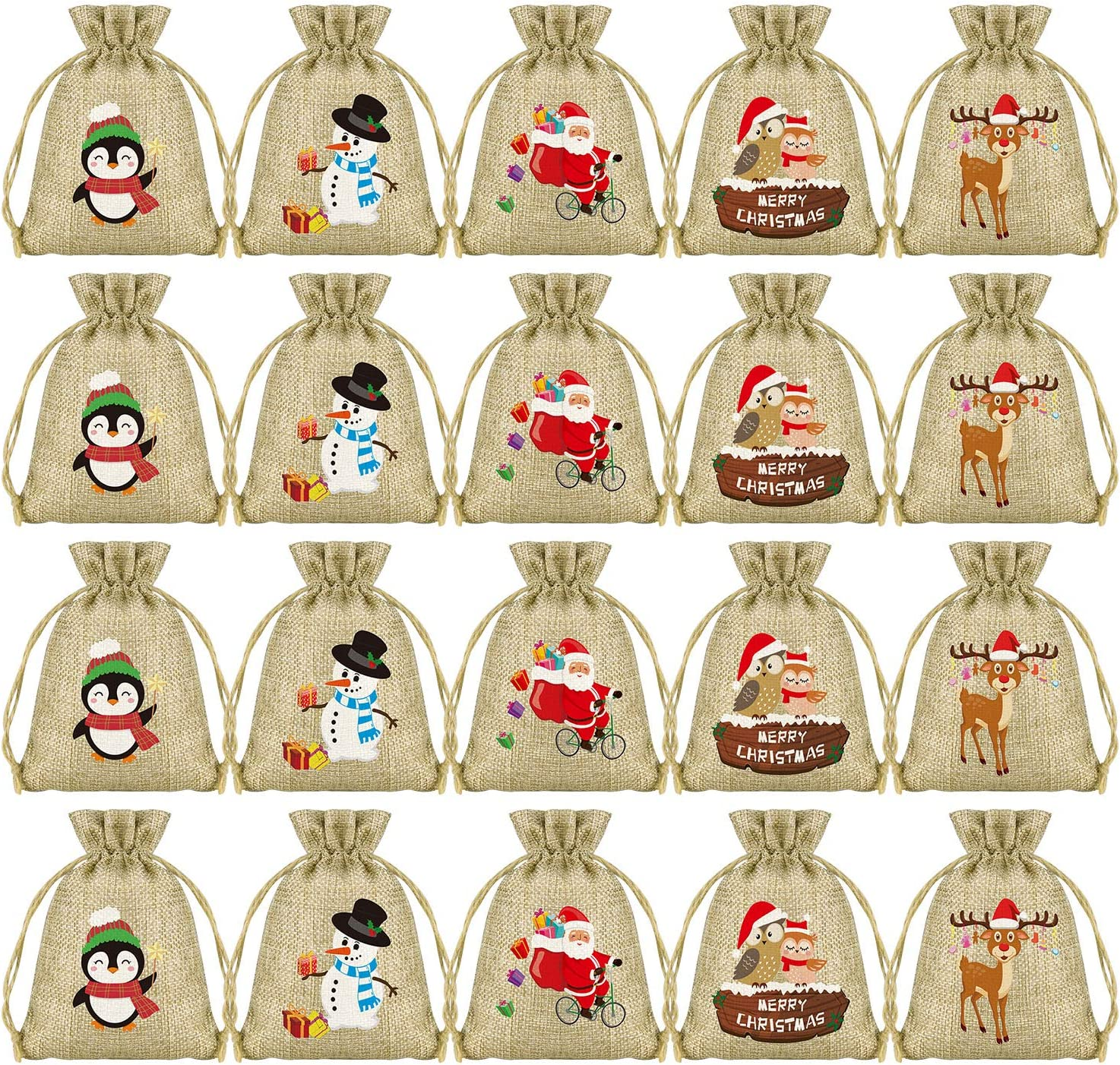 mini christmas drawstring bags