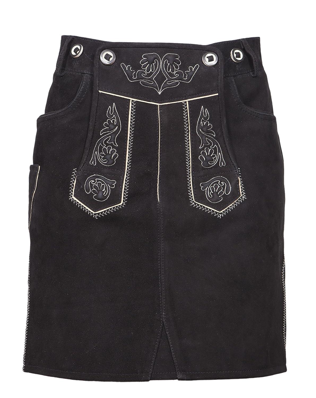 Trachtenamazonen Damen Trachten Lederrock Therese (Classic-Line) mit Innenfutter und ecru Bestickung in schwarz