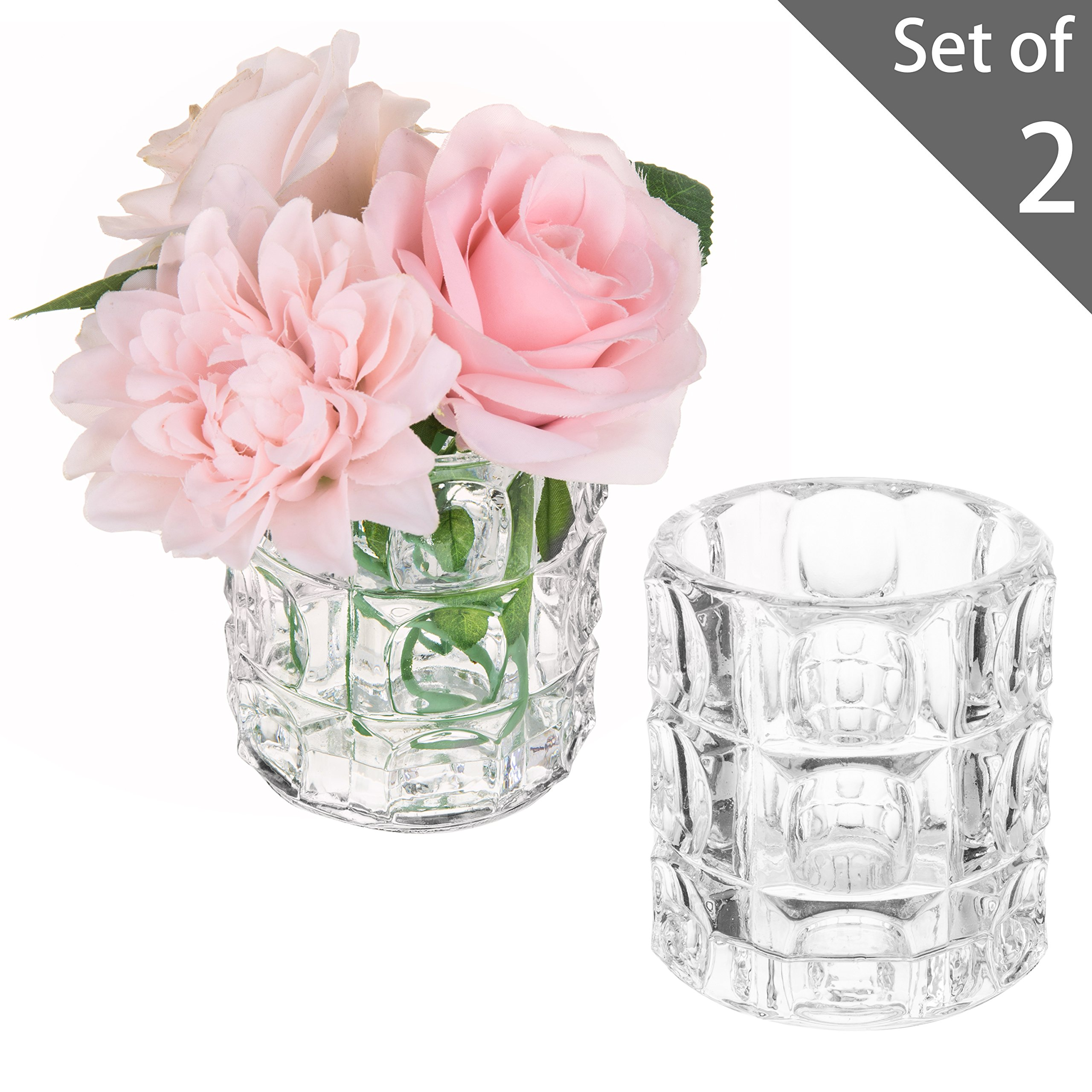MyGift 4-inch Clear Textured Bubble Glass Vases, Set of 2