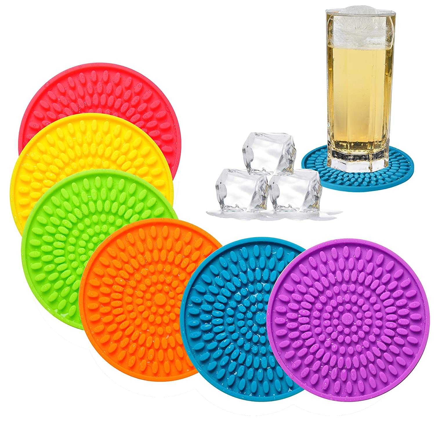 Colorful Coasters for Drinks Absorbent, Rubber Drink Coaster Set, Silicone Rainbow Coasters for Coffee Table Desk, 4.3 Inch Oval Shape Deep Tray Pot Holder Trivet (Set of 6) Kindga