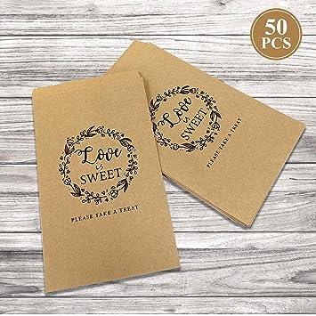 Amazon.com: 50 bolsas de papel kraft marrón para caramelos ...