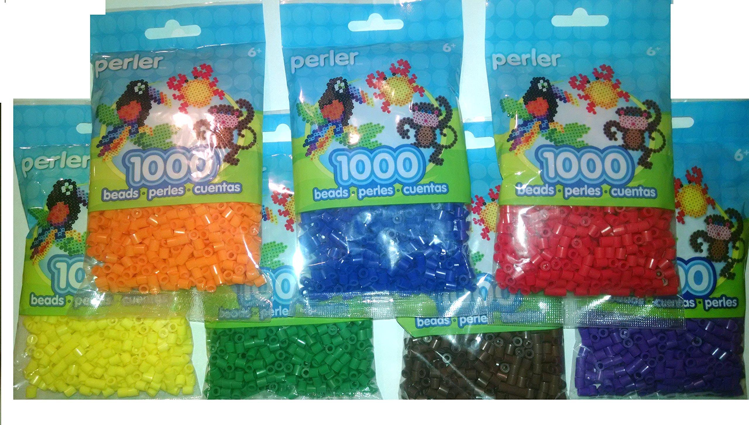 Perler Bead Bag, 7 Basic Color Group (D Blue, D Green, Red, Orange, Yellow, Purple, Brown) by Perler