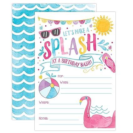 Girl Pool Party Birthday Invitations Summer Bash Splash Pad Water Park