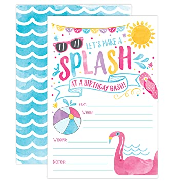 amazon com girl pool party birthday invitations summer pool party
