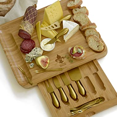 Exquisite Cheese Cutting Board & Knife Set - Large Bamboo board (15.75 x13 ) with 6 Stainless Steel gold Plated Cheese Slicer Tools + 6 Tasting Forks By Elite Creations(Gold, X-large)