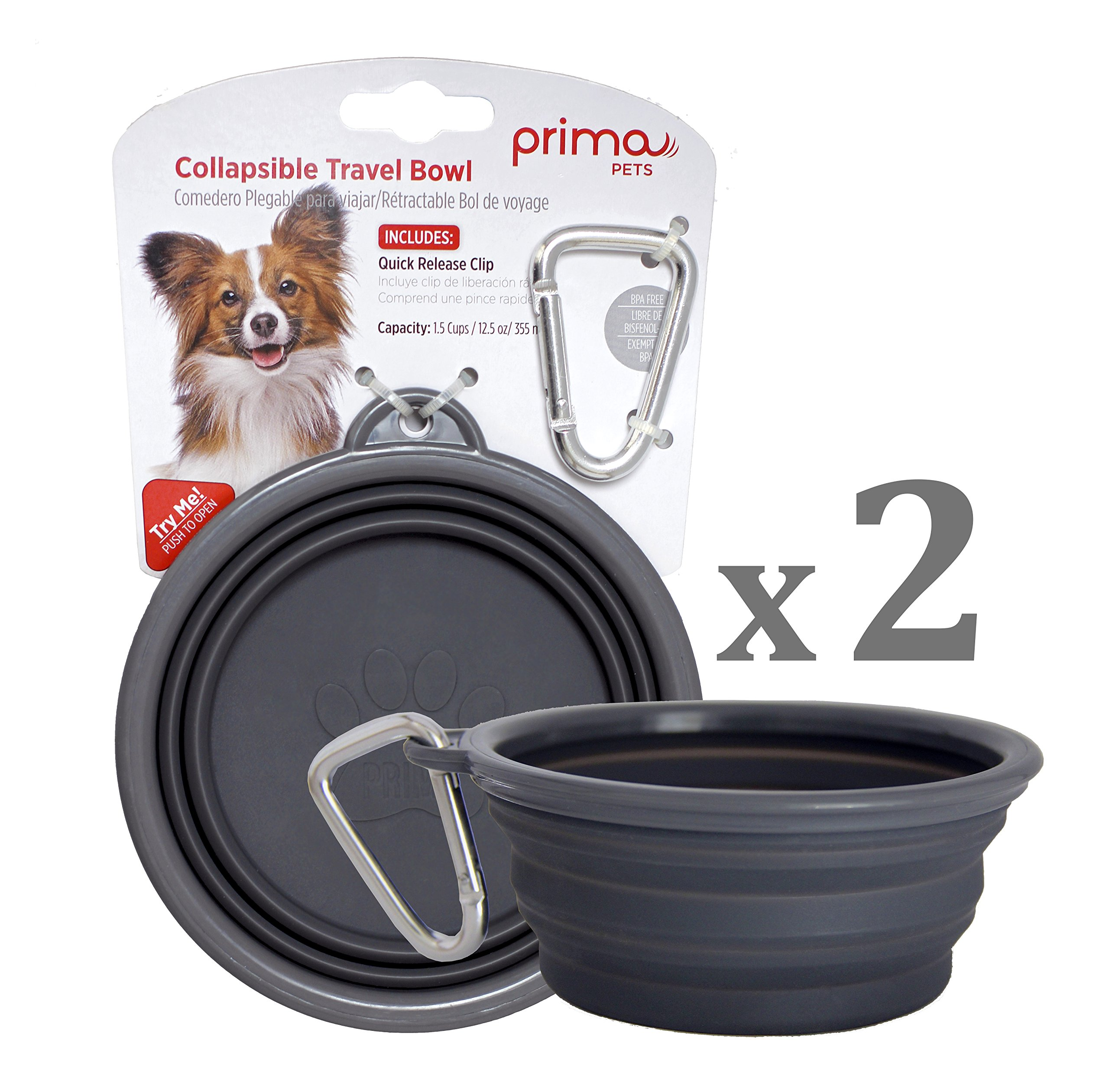 SALE: Prima Pet Collapsible Silicone Water Travel Bowl with Clip for Dog and Cat, Portable and Durable Pop-up Feeder for Convenient On-the-go Feeding – Size: SMALL (1.5 Cups) GREY –2 PACK