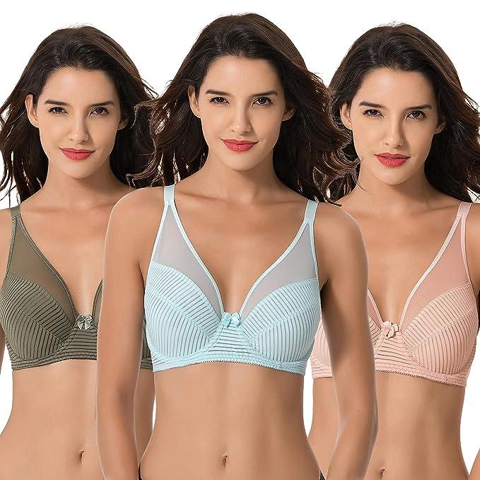 78251c2eb6 Curve Muse Women s Plus Size Minimizer Unlined Underwire Full Coverage Bra -3PK-GREEN