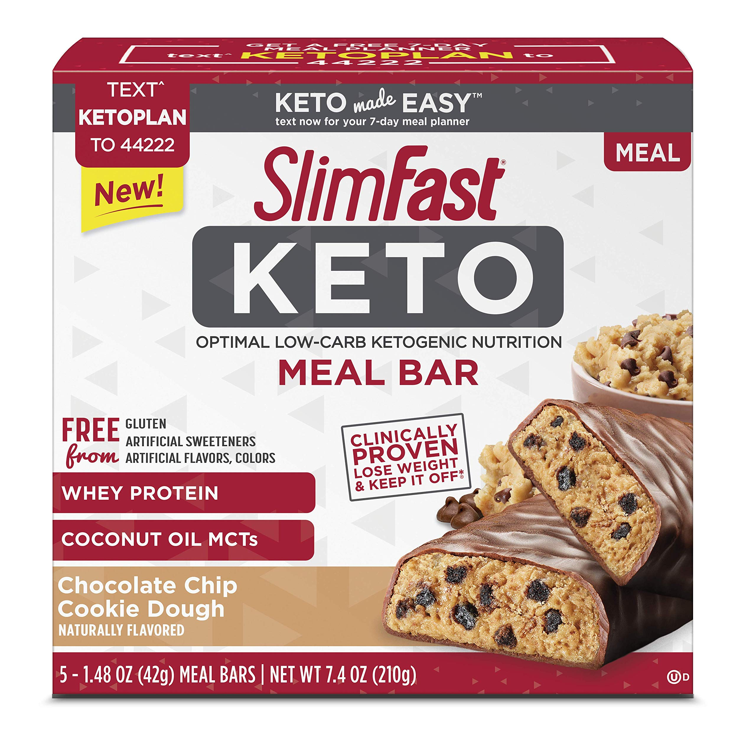 Slimfast Keto Chocolate Chip Cookie Dough Meal Replacement Bar 1.48 Ounce, 5 Bars per Box (4 Boxes) by Slimfast Keto