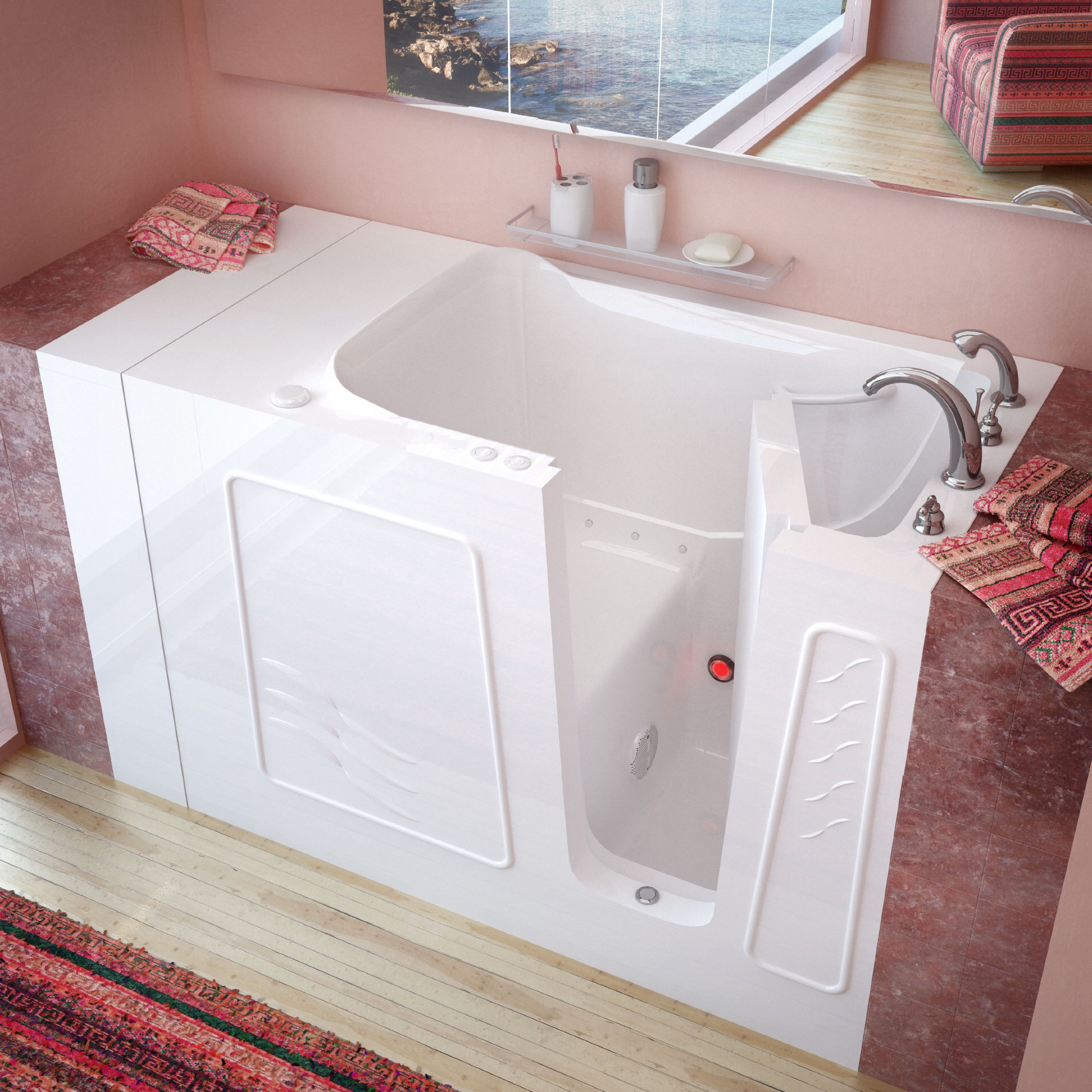 MediTub MT3053RWA Standard Fit 30 by 53 by 38-Inch Air Jetted Walk In Bathtub Spa Right Side Door, White
