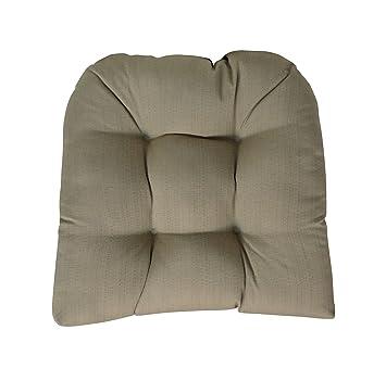 Sunbrella Linen Champagne Wicker Chair Cushion   Indoor / Outdoor 1 Tufted  Wicker Chair Seat Cushion