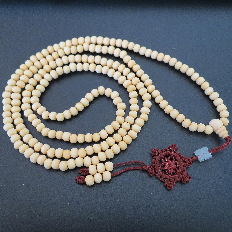 6mm*216 Buddha Unpolished White Sandalwood Wheel Prayer Beads Buddhist Sutra Bracelet Necklace