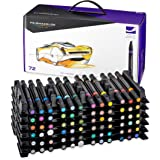 Prismacolor 3722 Premier Double-Ended Art Markers, Fine and Chisel Tip, 72-Count