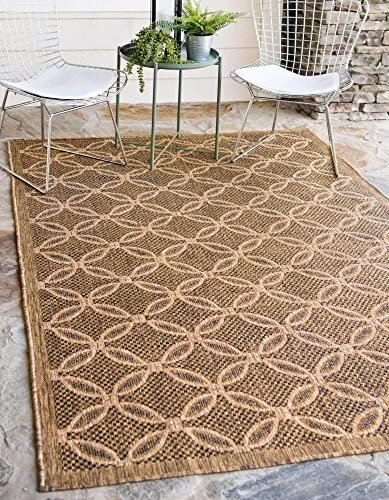 Unique Loom Outdoor Trellis Collection Geometric Border Transitional Indoor and Outdoor Flatweave Light Brown/Cream Area Rug 6' 0 x 9' 0