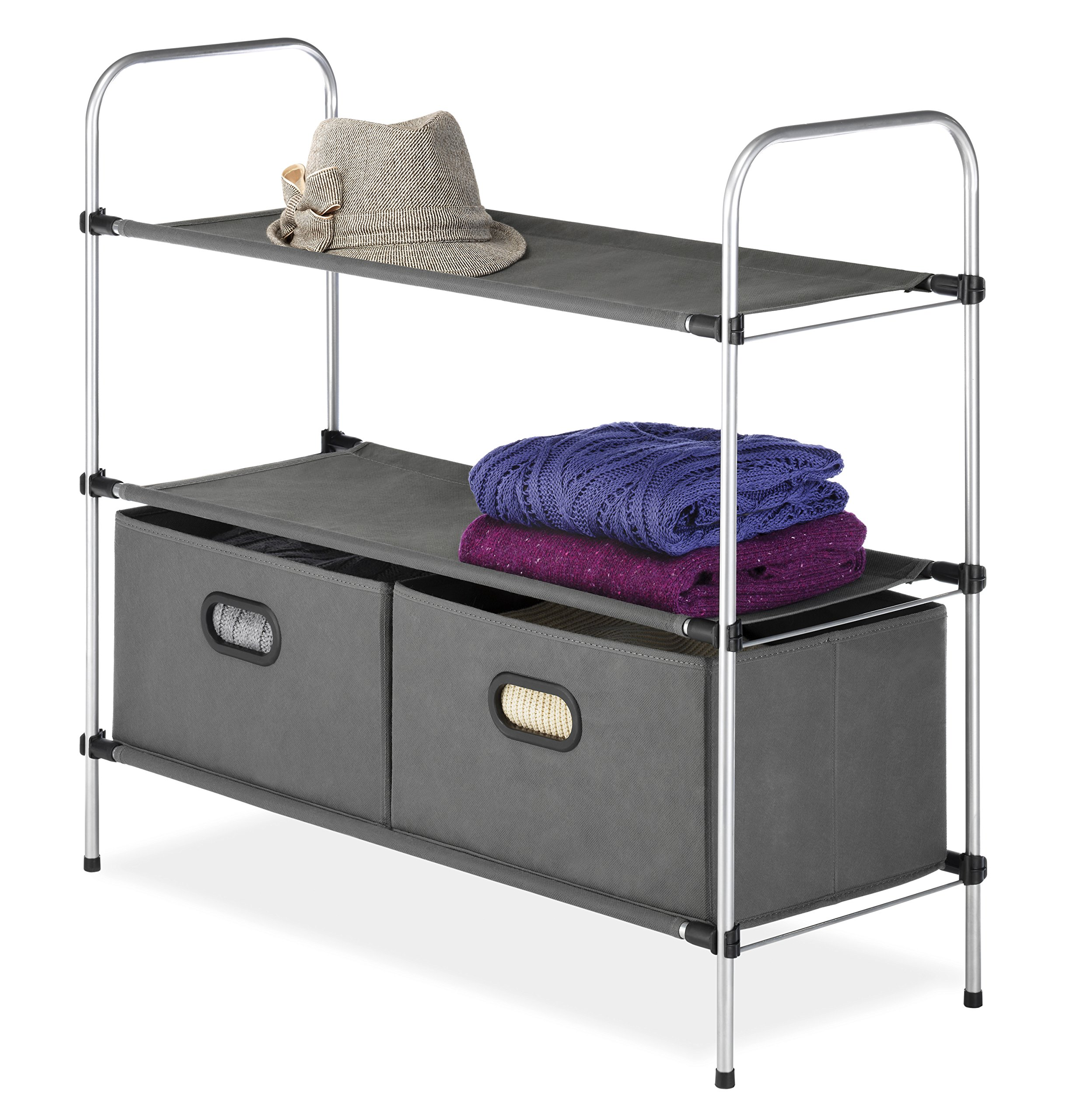 Whitmor Closet Shelves and Drawers - Multipurpose Portable Closet Organization Solution
