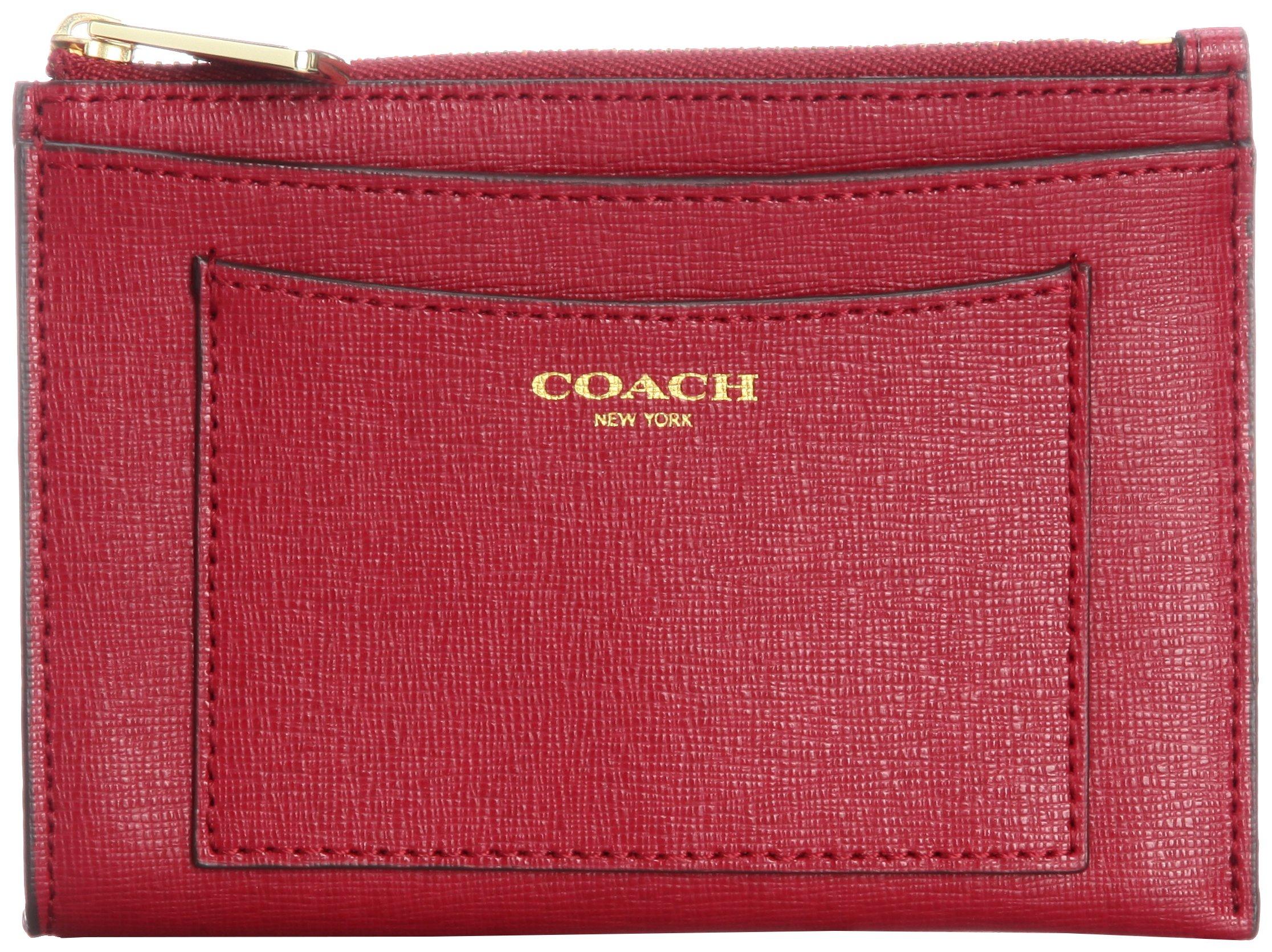 Coach Saffiano Leather Medium Skinny Wallet FOB 50732 Scarlet
