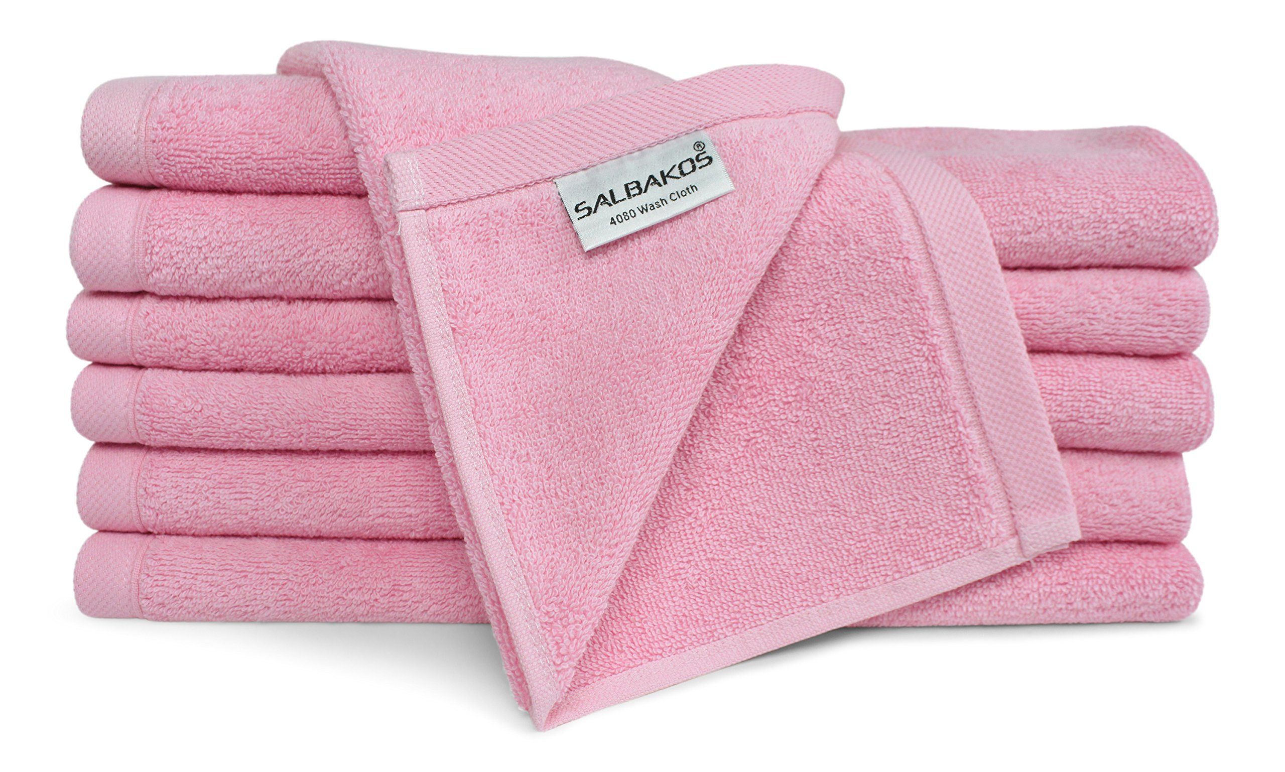 SALBAKOS Luxury Hotel & Spa Turkish Cotton 12-Piece Eco-Friendly Washcloth Set Bath, Rose