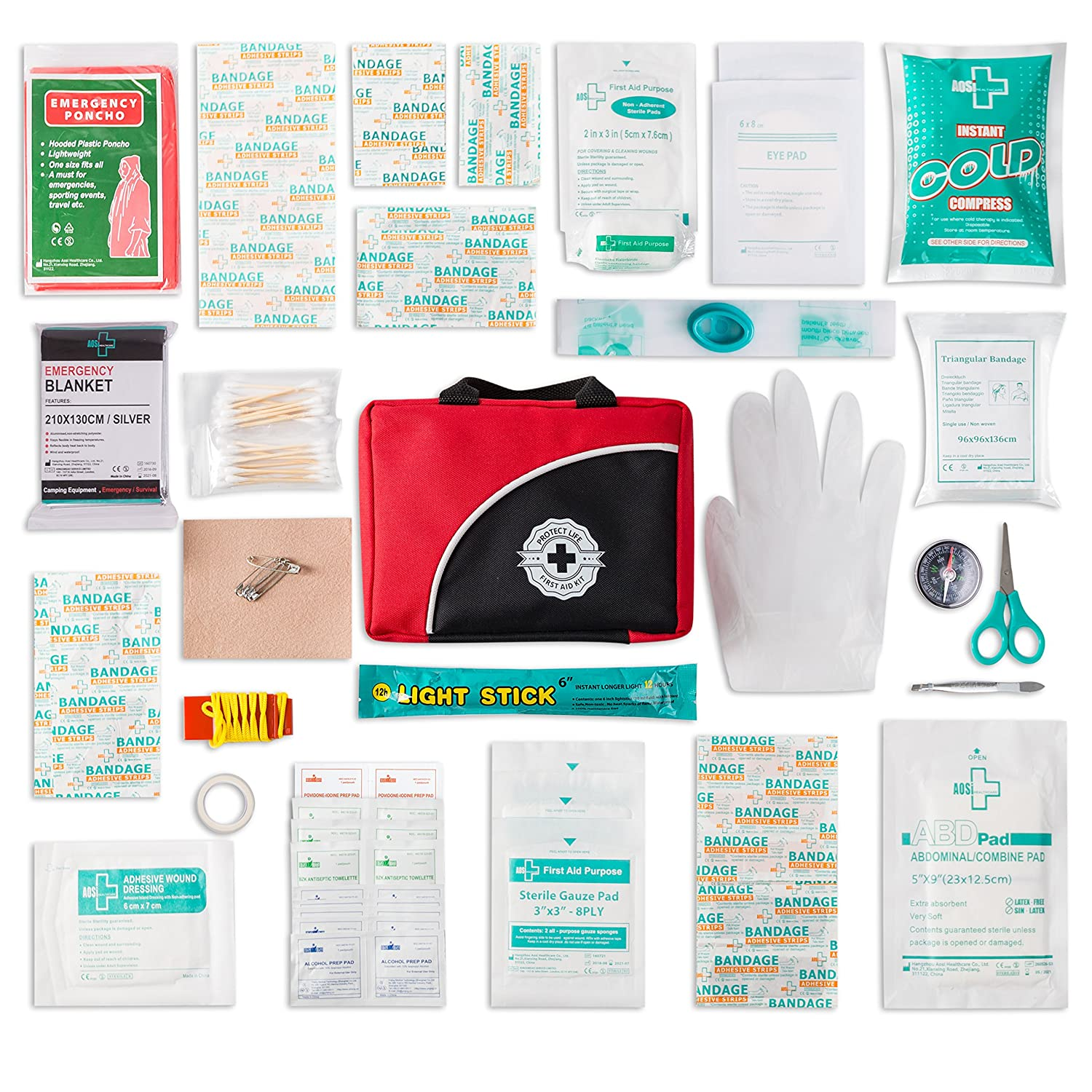 2016 602 215 399 unique contemporary - Amazon Com First Aid Kit 150 Piece For Car Travel Camping Home Office Sports Survival Complete Emergency Bag Fully Stocked With High Quality