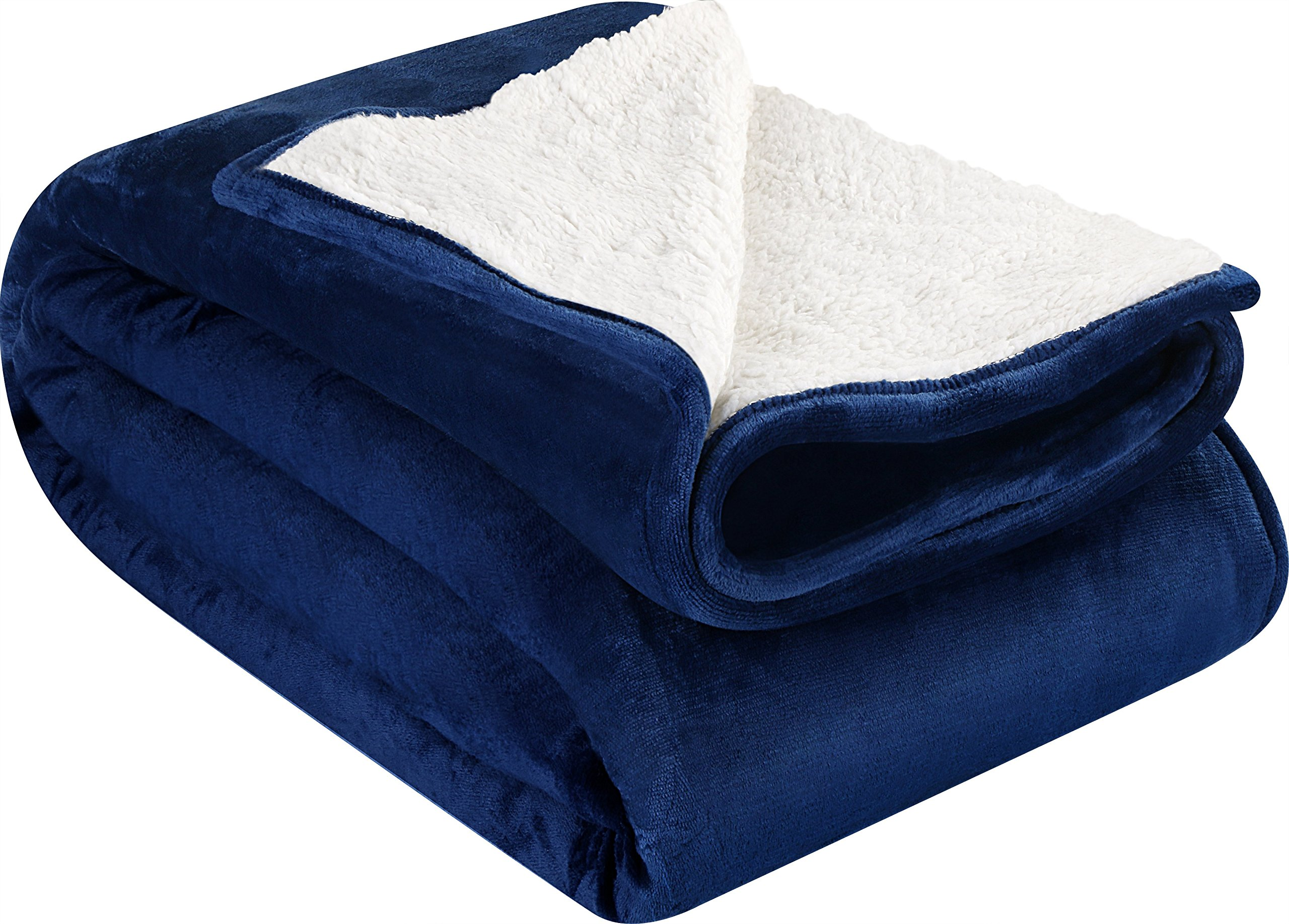Utopia Bedding Sherpa Flannel Fleece Reversible Blankets (Navy, Twin) – Extra Soft Brush Fabric – Super Warm, Lightweight Bed/Couch Blanket – Easy Care