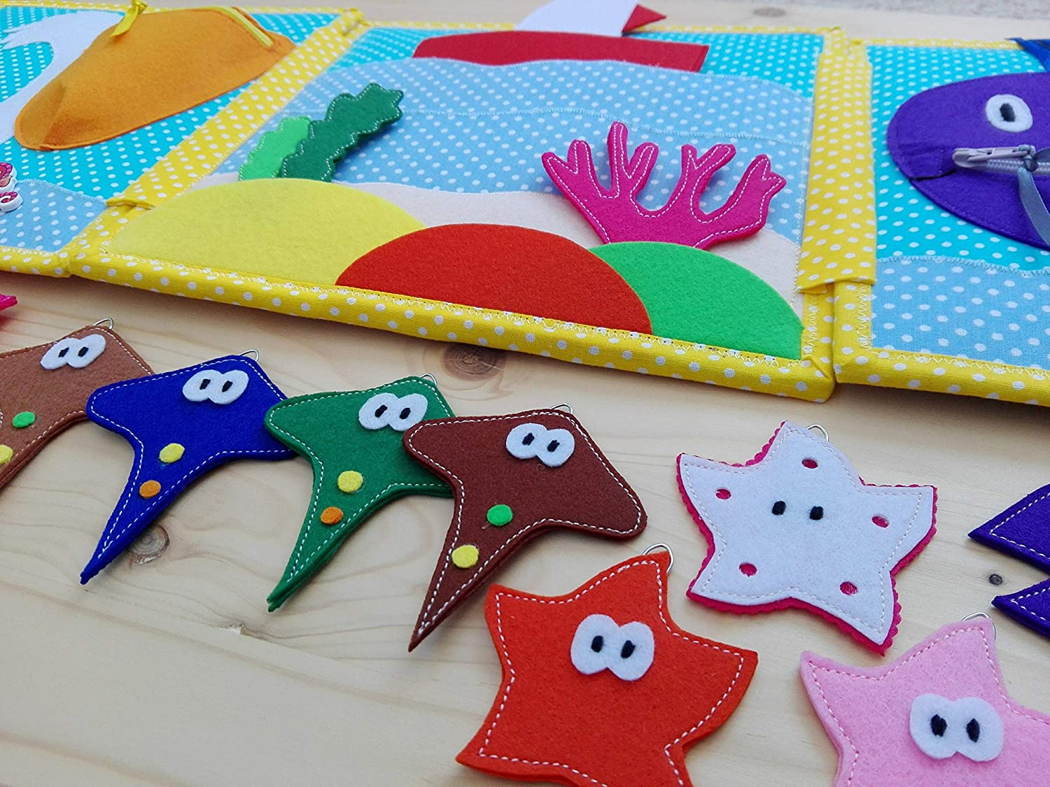 Busy book Birthday gift Quiet book Felt fishing game ...