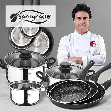 San Ignacio Coopper Batería de Cocina Juego de Sartenes, Acero Inoxidable, Cromado