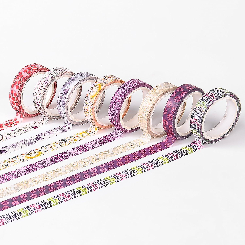 24 Rolls Washi Tape Set,8mm Wide Masking Tape,Decorative Masking Tape for DIY Planner Craft Scrapbooking yuanmeng