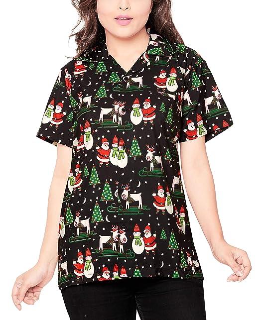 CLUB CUBANA Blusa Camisa XMAS Christmas casual manga corta ajustado para mujer XL
