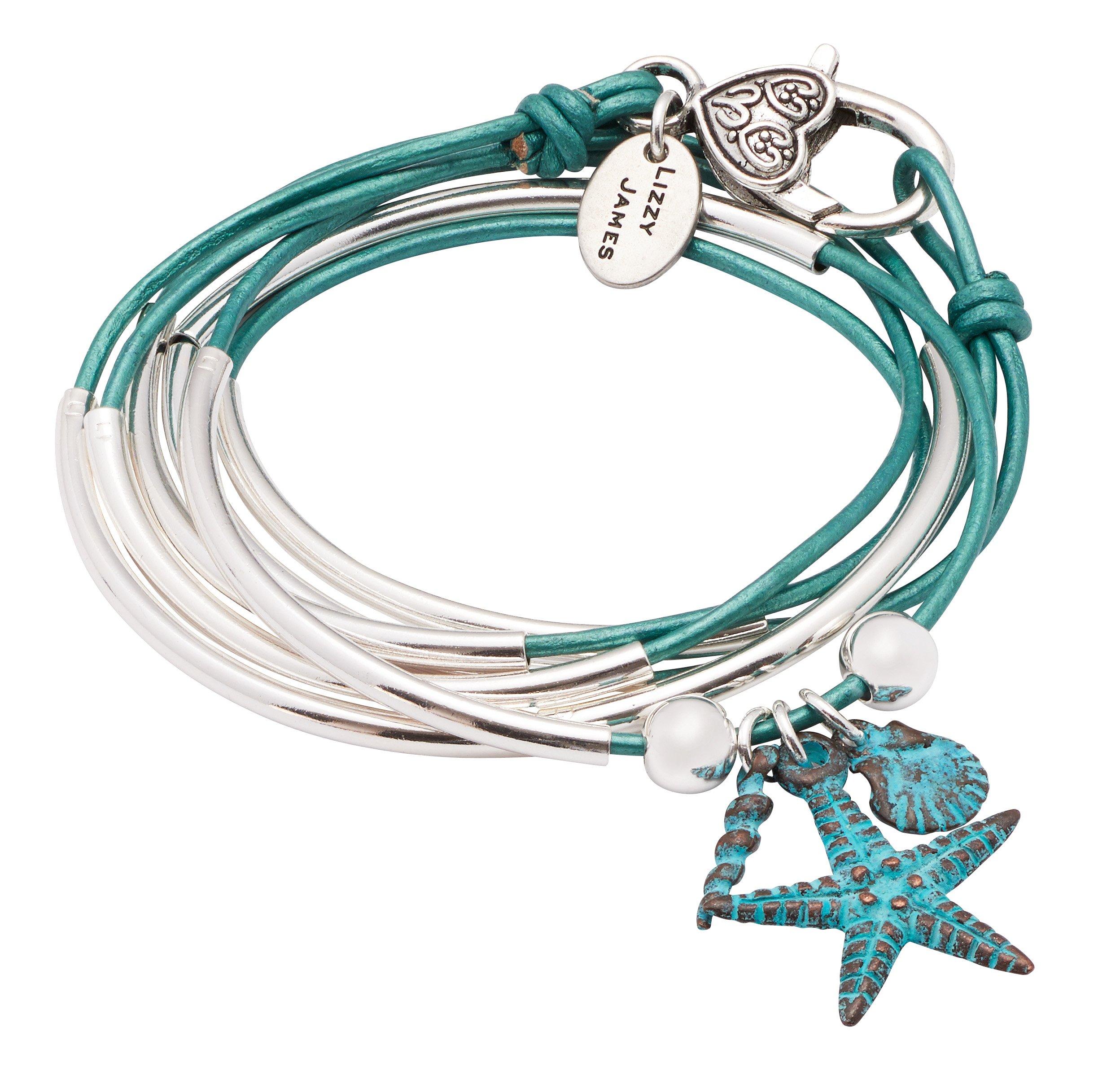 Lizzy James Girlfriend Wrap Silverplated 2 Strand Metallic Teal Leather Wrap Bracelet with Nautical Teal Charm Trio (Medium)