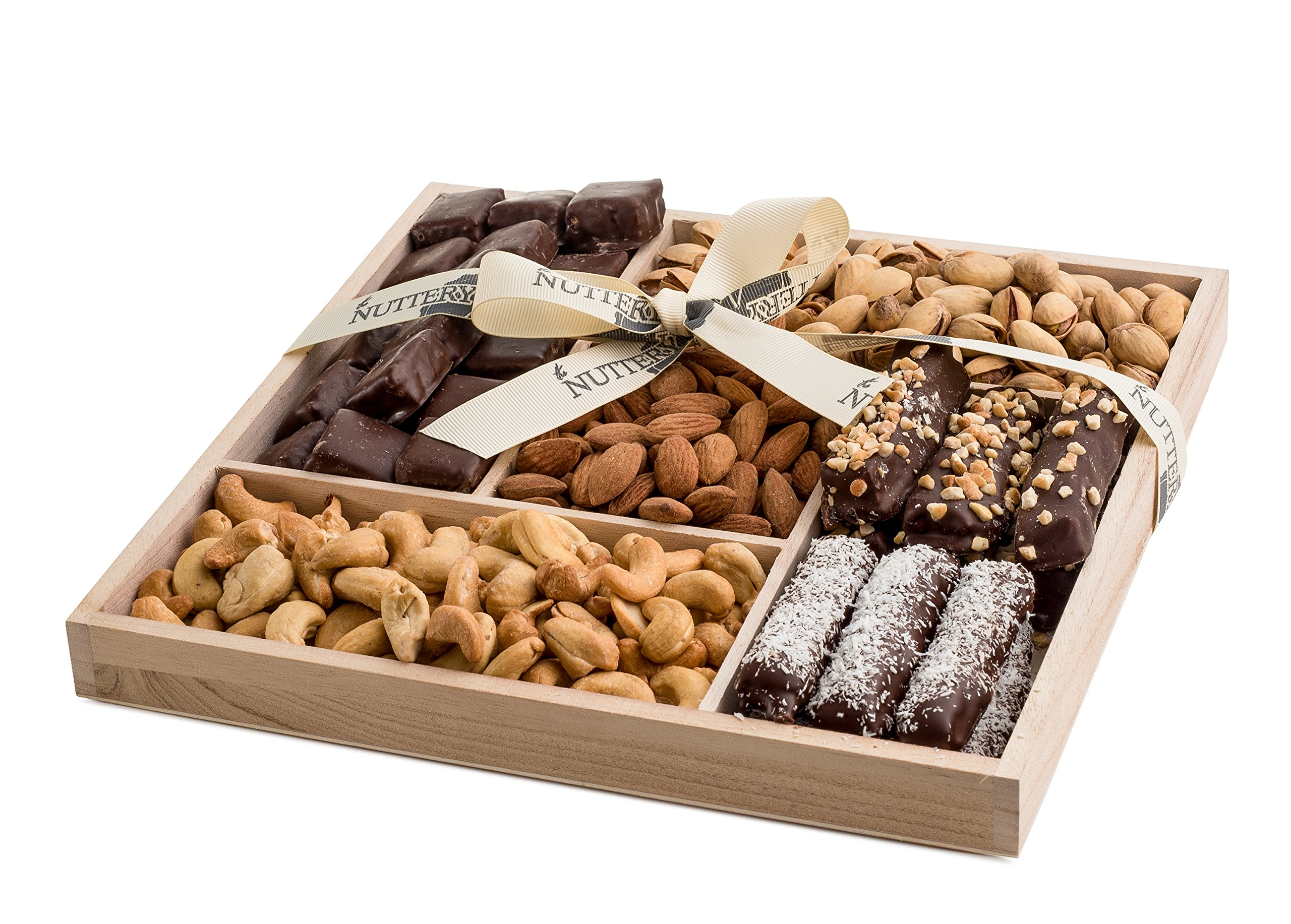 The Nuttery Nuts and Chocolate Mix-Holiday Gift Set- Premium Fine Chocolate and Roasted and Salted Nuts Tray