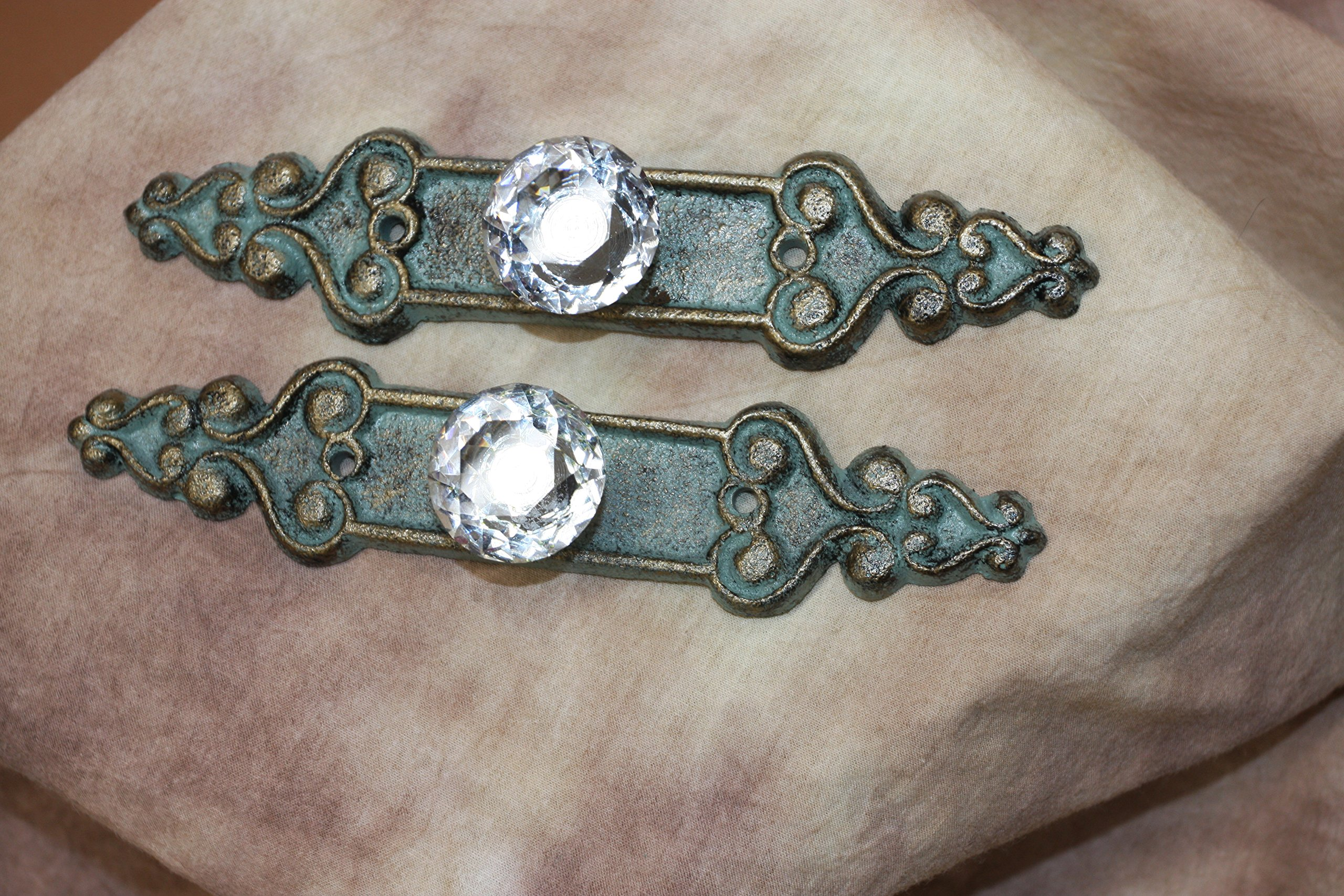 Elegant Crystal Drawer Pulls Cast Iron Bronze-look Backplate, 7 inch long, HW-25, Set of 6 by Cast Iron Decor (Image #5)