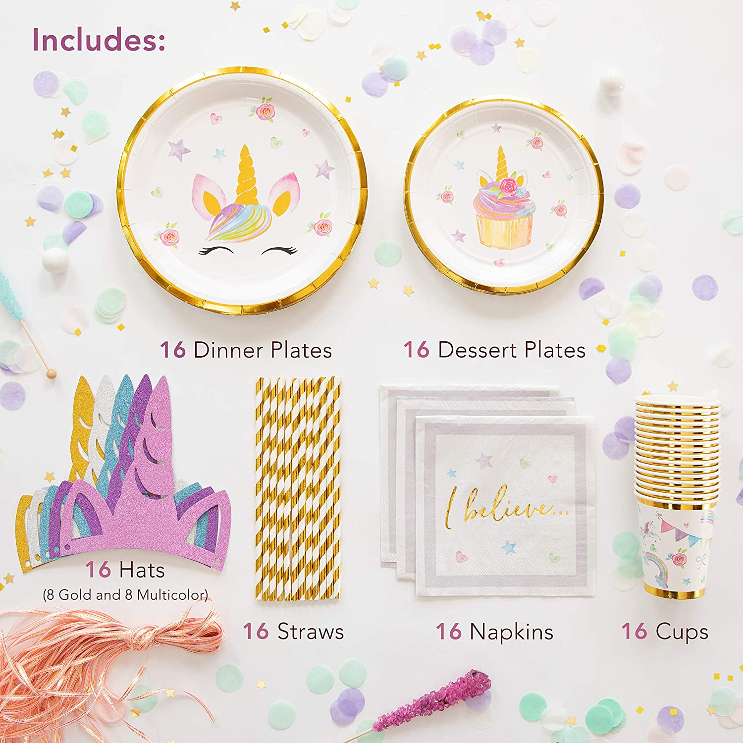 9 Plates, 7 Plates and Cups ONLY Stunning Real Gold Foil Serves 16 Unicorn Party Supplies Set