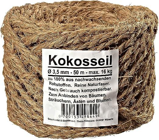 Humusziegel - Cuerda de coco de 3.5 mm hecha de fibra de coco para hobby y jardín 50 m: Amazon.es: Jardín