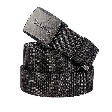 5ee0471268069 Drizzte 39'' Men's Military Duty Web Nylon Belt Plastic Buckle Black