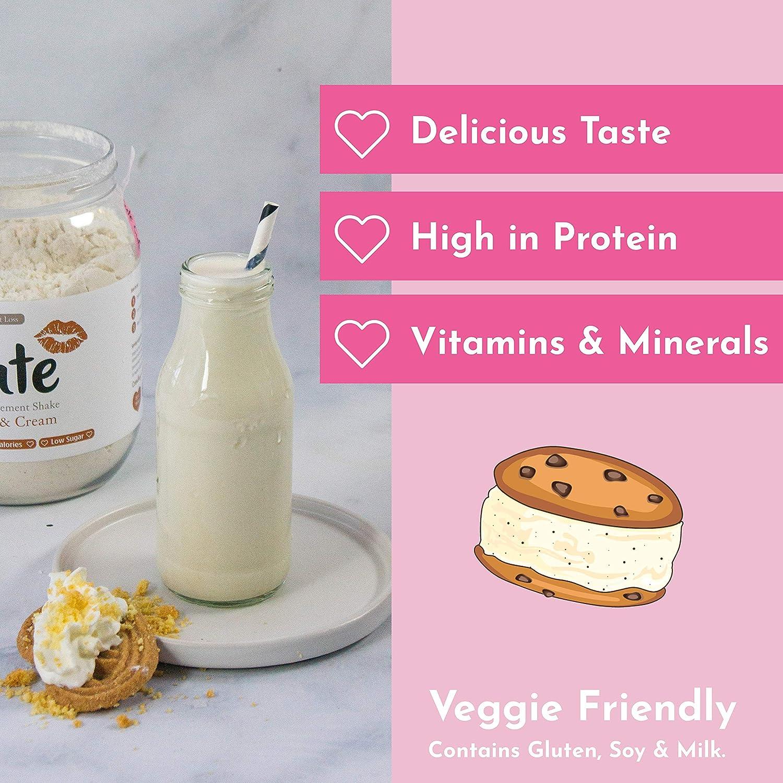 Cute Nutrition Batido Sustitutivo de Comida Sabor Galletas y Crema para el Control de la Pérdida de Peso en Polvo Bebida Dietética para Mujer Bote de ...