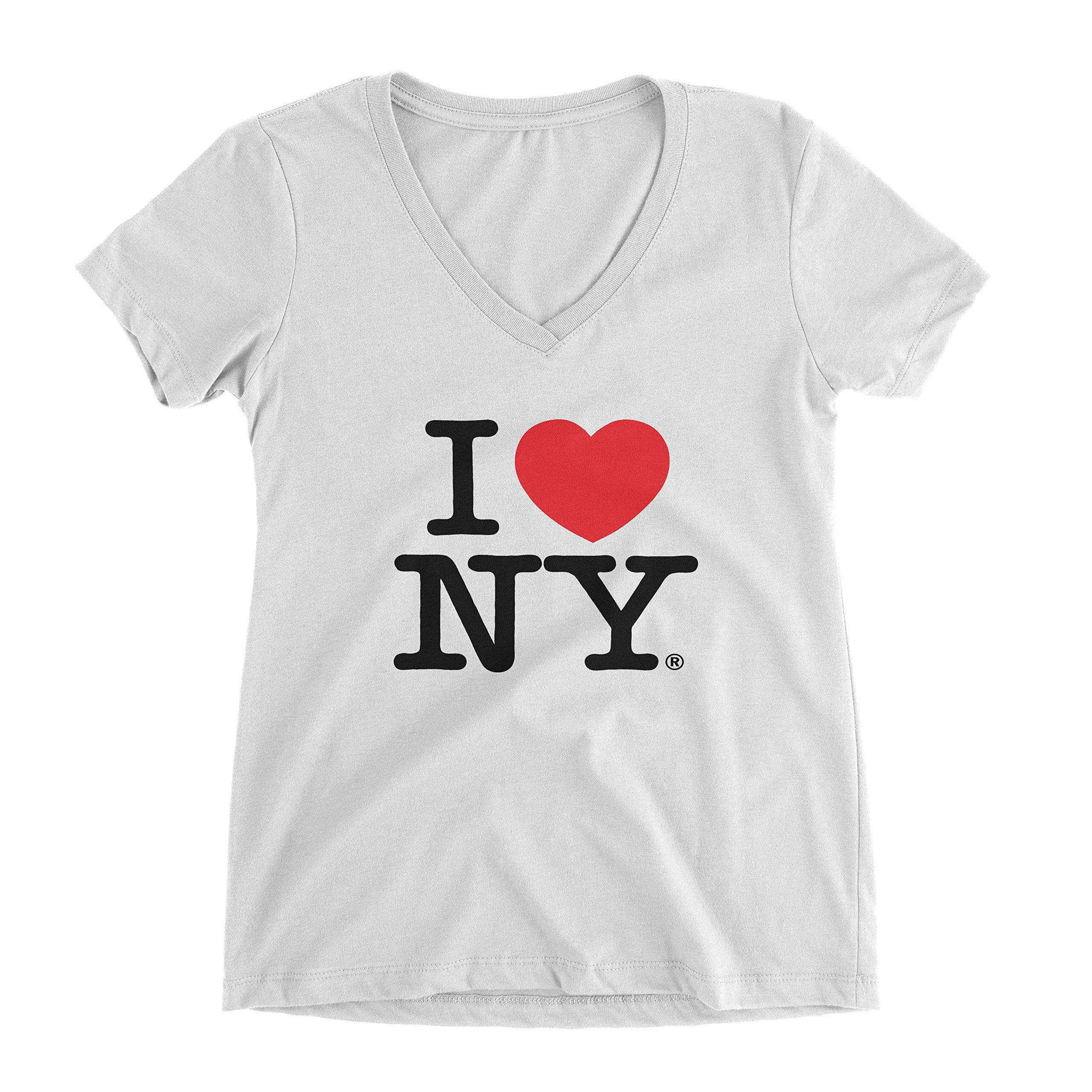 I Love NY New York Womens V-Neck T-Shirt Spandex Heart White Small