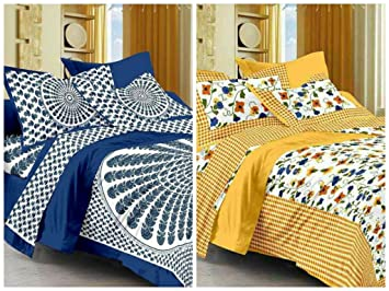 Suraaj Fashion Jaipuri Cotton Double Bedsheets Combo with 4 Pillow Covers (Multicolour) - Pack of 2