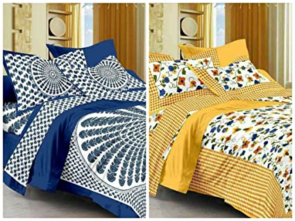 b02b7b127fe8a8 Buy Suraaj Fashion Jaipuri Cotton Double Bedsheets Combo with 4 Pillow  Covers (Multicolour) - Pack of 2 Online at Low Prices in India - Amazon.in