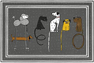 product image for Apache Mills BJ3K Fashionables Deluxe Hello Dogs Doort Mat, 24-Inch X 36-Inch, Gray