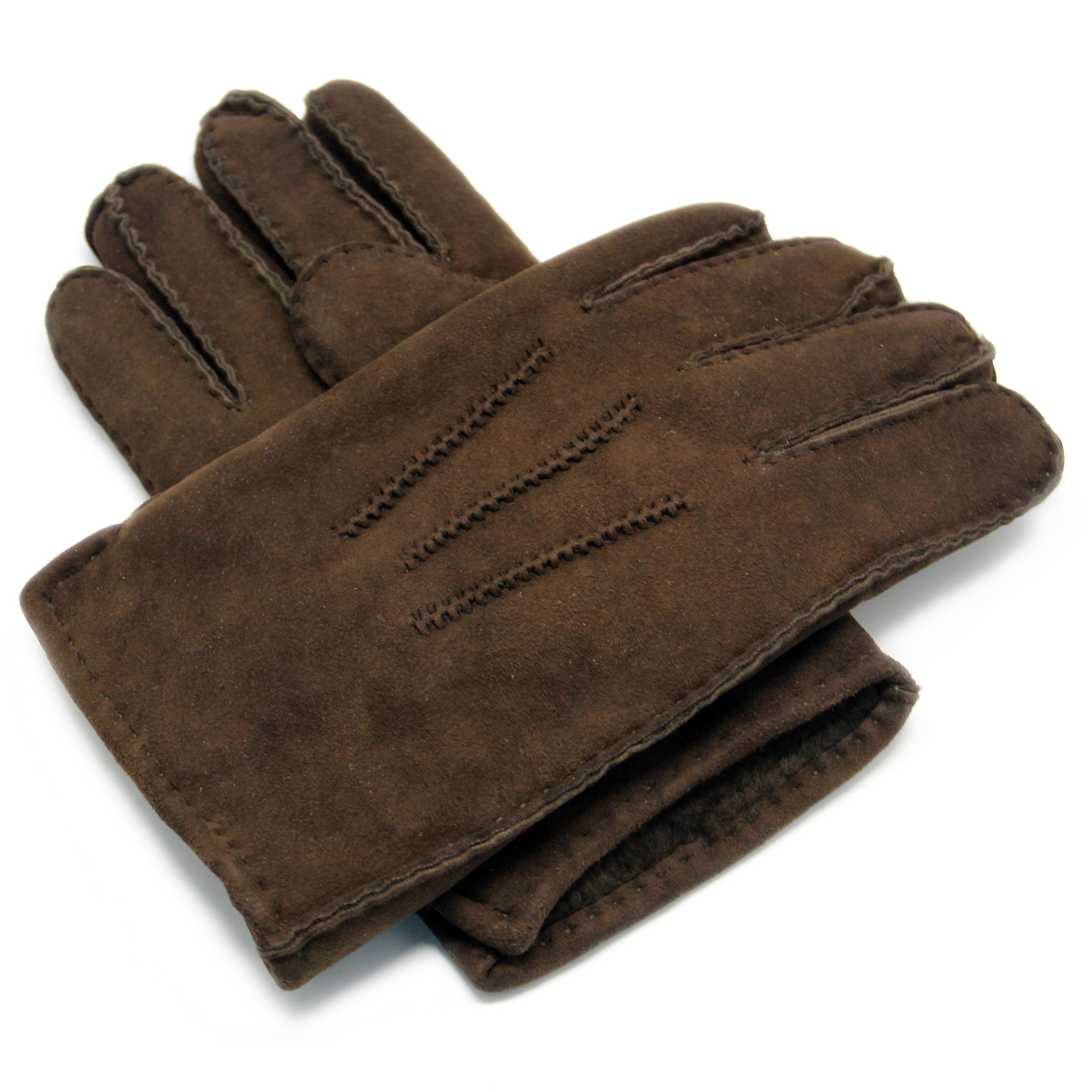 YISEVEN Men's Merino Rugged sheepskin Shearling Leather Gloves Three Points Short Cuffs Soft Thick Furry Fur Lined Warm Heated Lining Cuffs Winter Dress Driving Work Gifts, Dark Brown X-Large