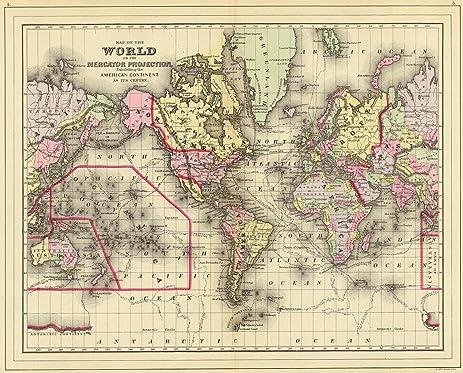 Amazon world atlas 1890 world mercator proj historic world atlas 1890 world mercator proj historic antique vintage map reprint gumiabroncs Choice Image