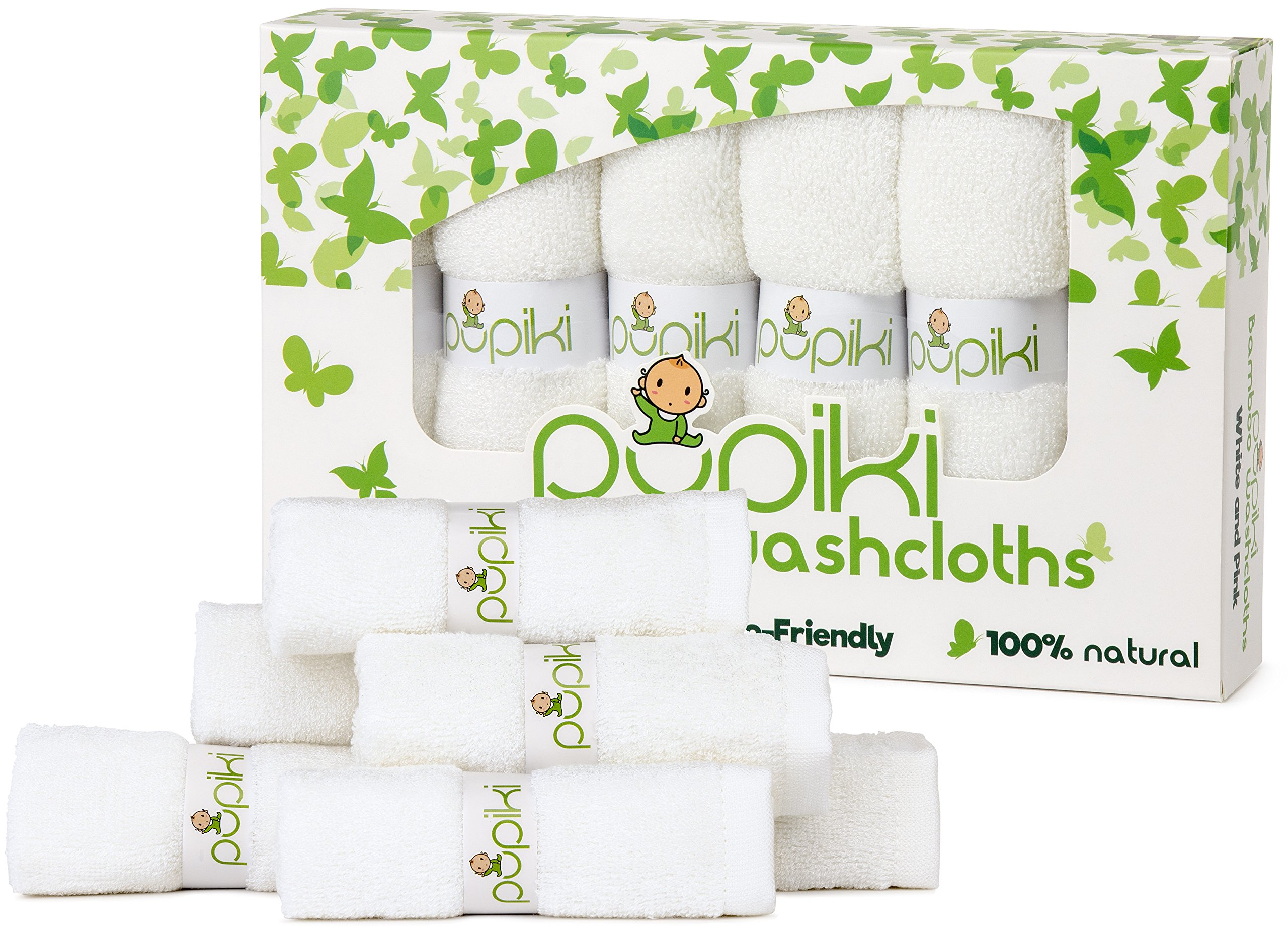 """Premium Pupiki Baby Washcloths: 6 Ultra-Soft 100% Organic Bamboo Baby Washcloths + Wash Bag Hypoallergenic Reusable Extra-Absorbent 10""""X10"""" Newborn Towel for Boys & Girls Great Baby Shower Gift White"""