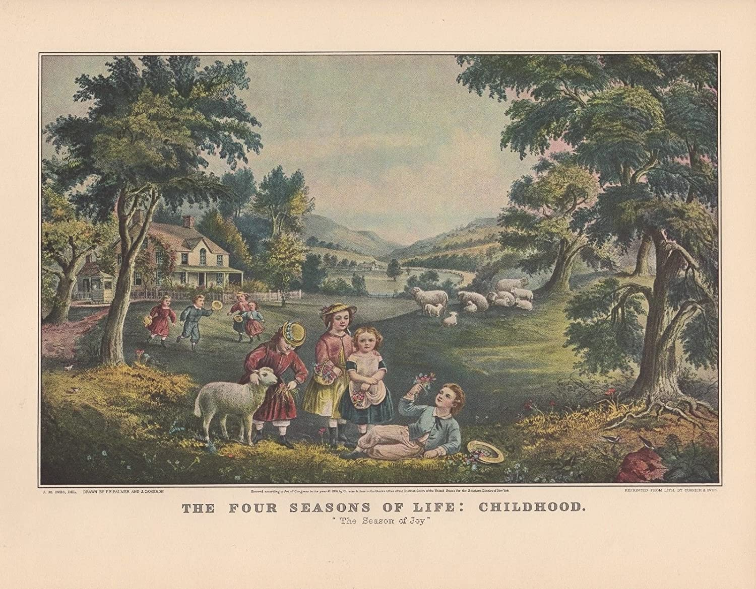 """CHILDHOOD/"""" COLOR Litho 1952 Vintage Currier /& Ives /""""THE FOUR SEASONS OF LIFE"""
