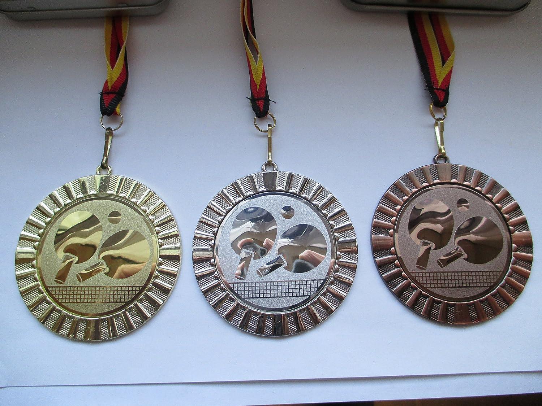 mit Emblem Gold Silber TT-Tennis Silber Gro/ß 70mm Gold Bronce Emblem 50mm Tischtennis Medaillen Set mit Deutschland-Band Bronze
