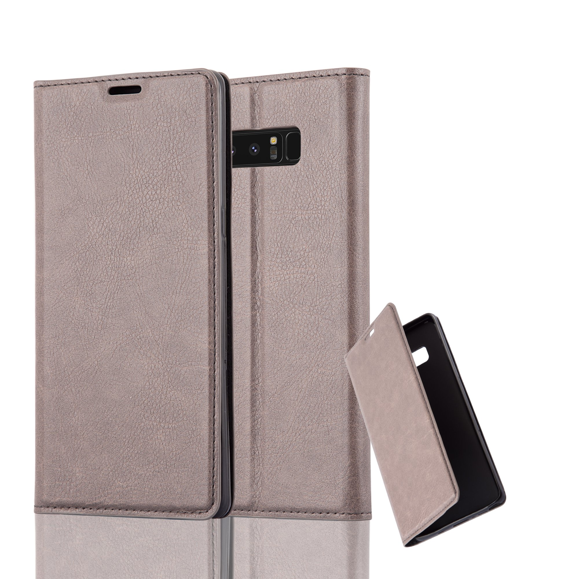 Cadorabo Case Works with Samsung Galaxy Note 8 Book Case in Coffee Brown (Design Invisible Closure) – with Magnetic Closure, Stand Function and Card Slot – Wallet Case Etui Cover PU Leather