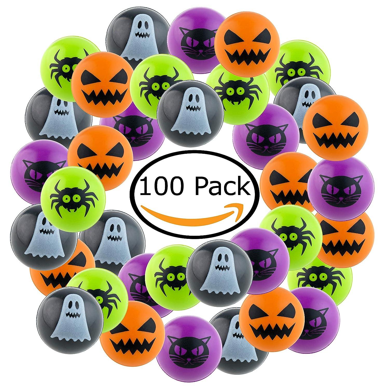 Kompanion 100 pezzi di Palle Rimbalzanti di Halloween per feste di Halloween, Giocattoli Unici per Dolcetto Scherzetto