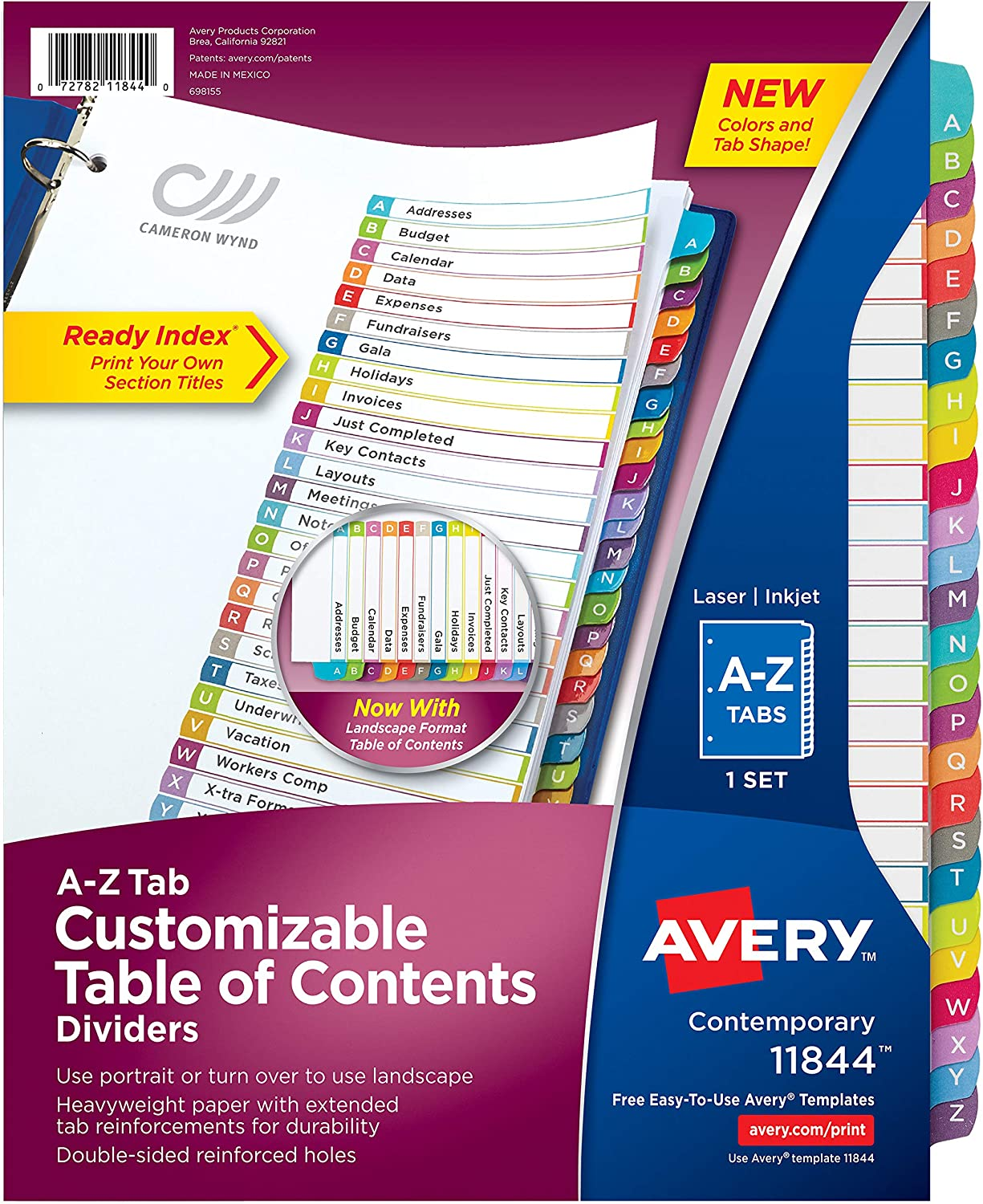 Avery A-Z 26 Tab Dividers for 3 Ring Binders, Customizable Table of Contents, Multicolor Tabs, 1 Set, 12 Packs (11844)