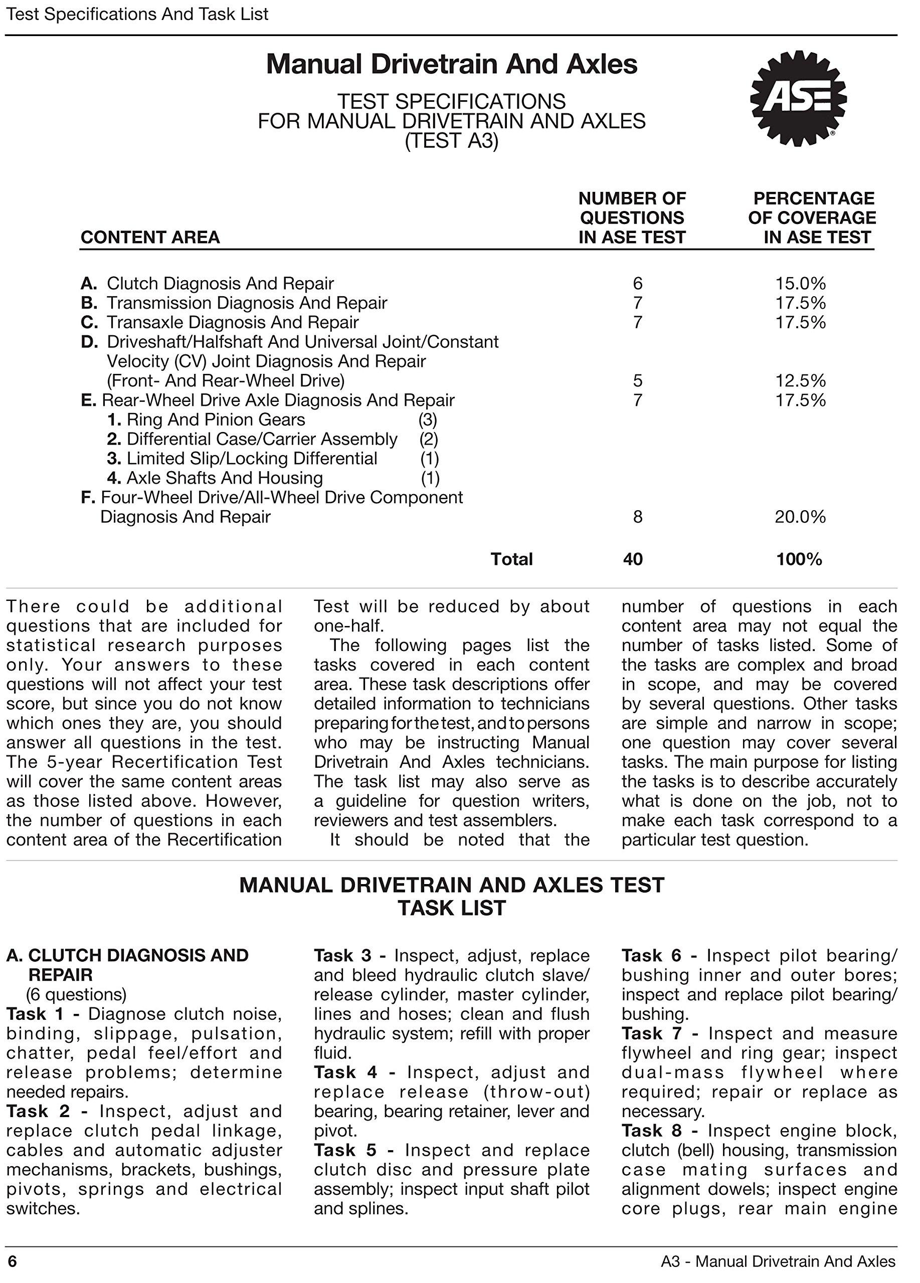 ASE Test Preparation - A3 Manual Drive Train & Axles (Motor Age Training):  Motor Age Staff: 9781934855423: Amazon.com: Books
