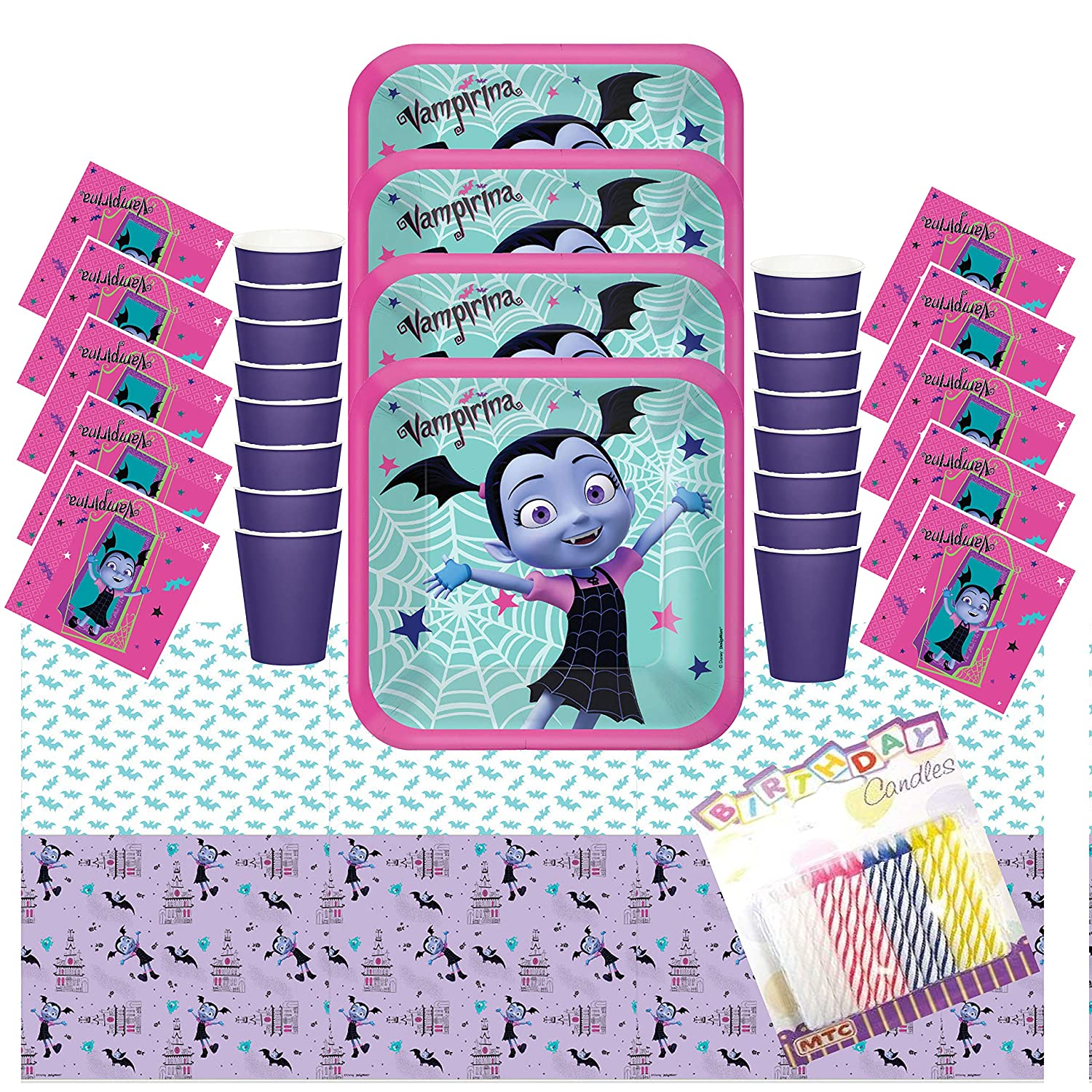 Disney Vampirina Party Plates Napkins Cups and Table Cover (Serves-16) with Birthday Candles - Disney Vampirina Party Supplies Pack Deluxe (Bundle for ...