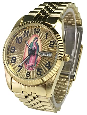 Reloj De Hombre Swanson Japan Watch Mens Day-Date Con La Virgen de Guadalupe &