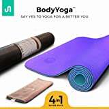 Premium Yoga Mat, BODYYOGA Eco Friendly Exercise Meditation Mat, TPE Material, Non Slip Mat For Yoga With Carrying Bag & Workout Towel, 72'' x 24'' Yoga Practicing Mat ¼-Inch Thick, Integrated Anti-Tear Pilates Mat - For Men & Women - From BodyBand